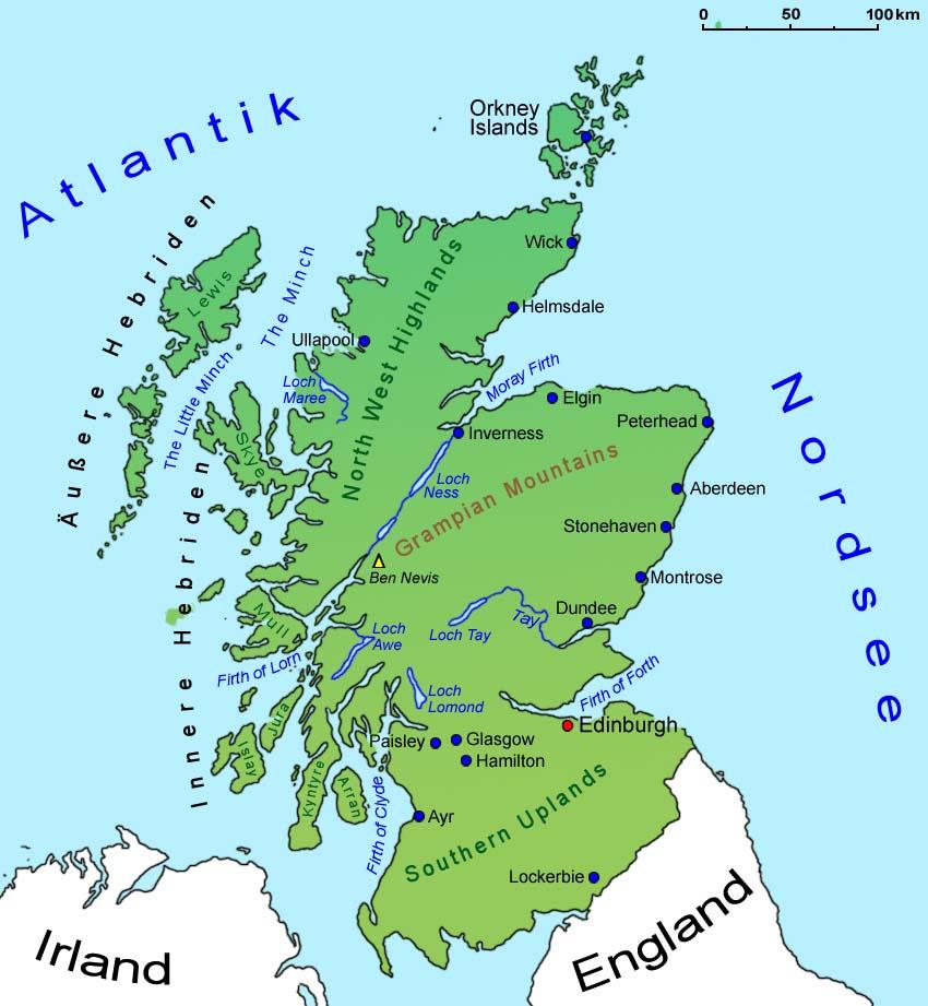 Sehenswürdigkeiten Großbritannien Karte.Schottland Geografie Landkarte Länder Schottland Goruma