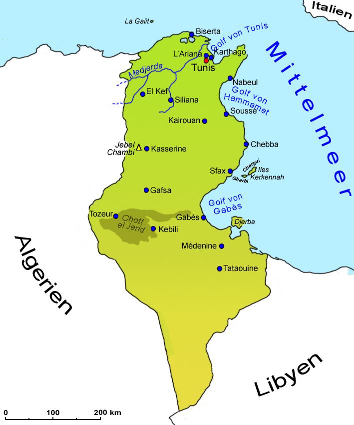Tunesien Karte.Tunesien Geografie Landkarte Lander Tunesien Goruma
