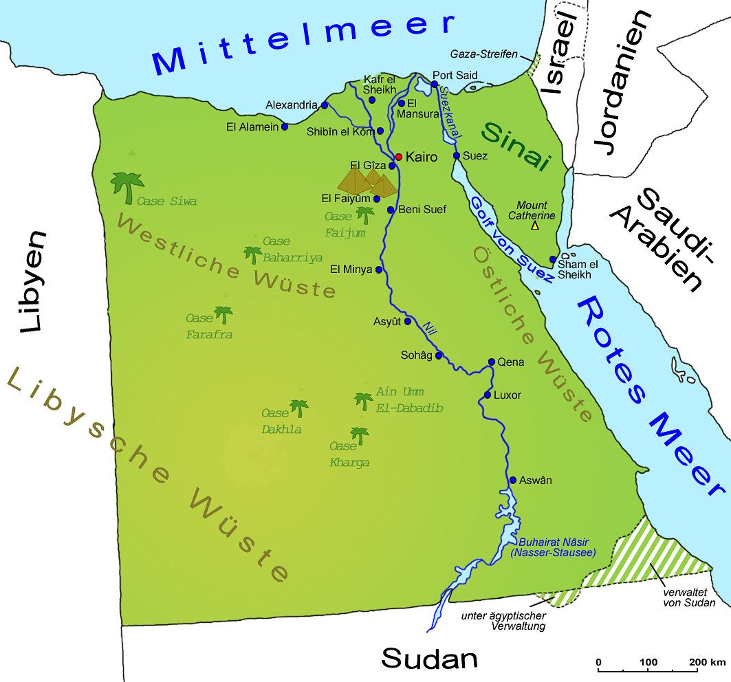 Karte Von ägypten.ägypten Geografie Landkarte Länder ägypten Goruma