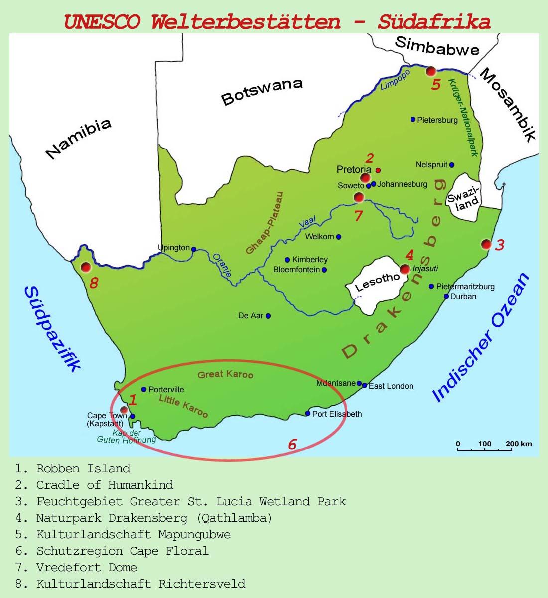 Südafrika Karte Sehenswürdigkeiten.Südafrika Unesco Welterbestätten Länder Südafrika Goruma