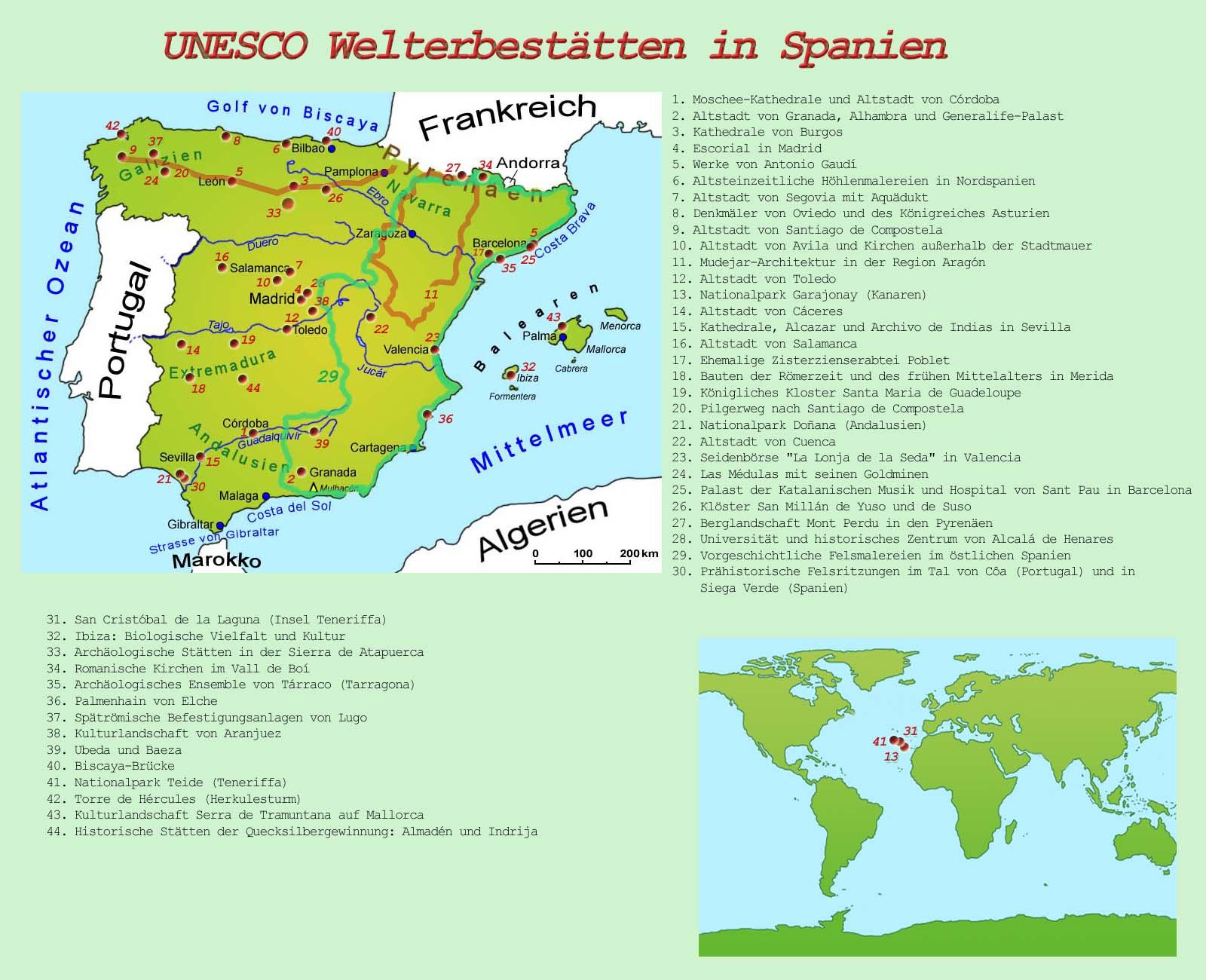 Spanische Karte.Spanien Unesco Welterbestatten Lander