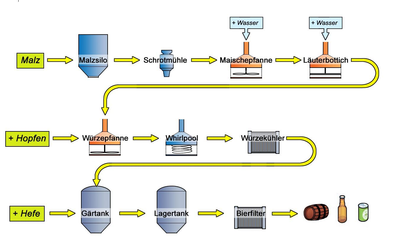 Bierherstellung Schritte