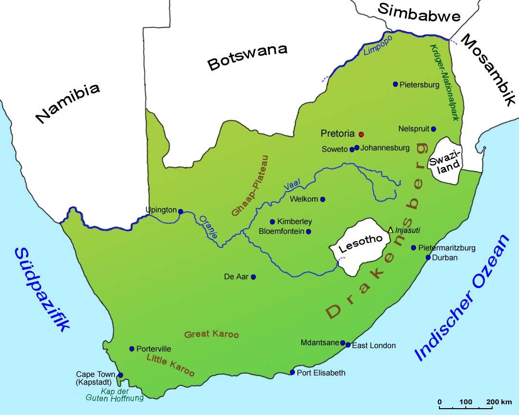 Südafrika Karte.Südafrika Geografie Landkarte Länder Südafrika Goruma