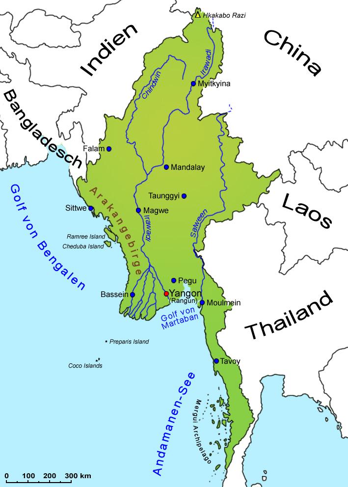 Karte Myanmar.Myanmar Landkarte Länder Myanmar Goruma