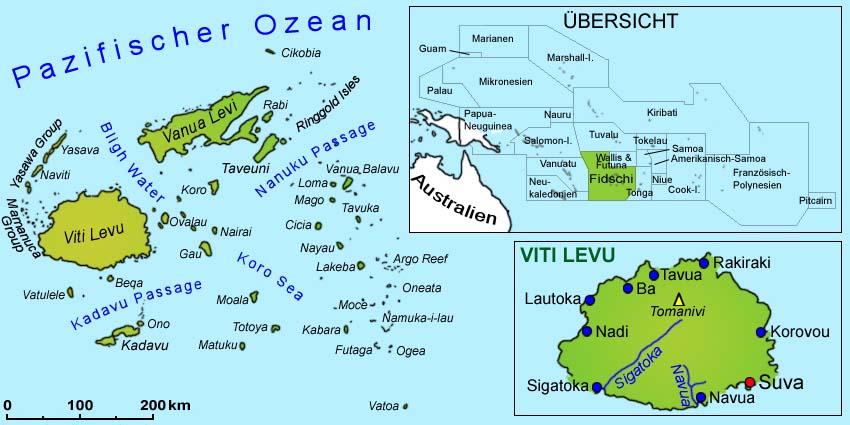 Karte Australien Und Umgebung.Fidschi Landkarte Länder Fidschi Inseln Goruma