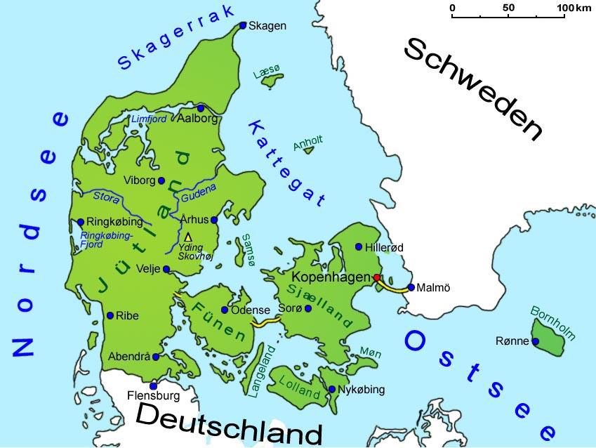 Danemark Geografie Landkarte Lander Danemark Goruma