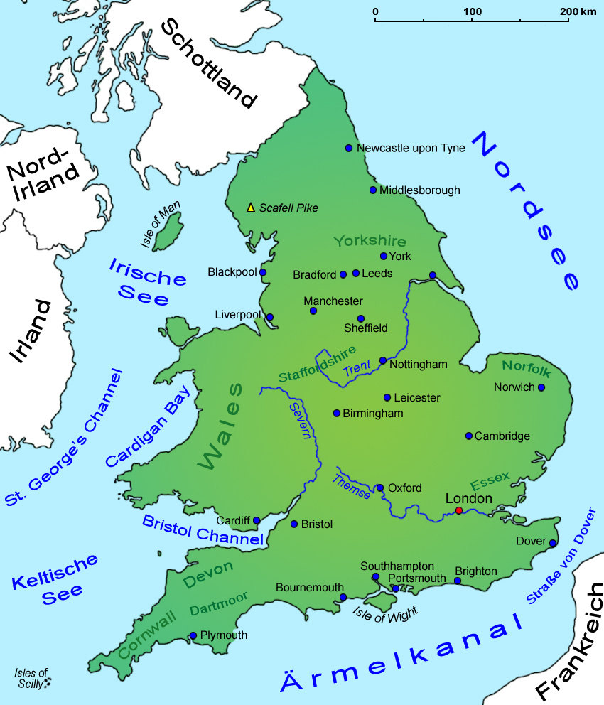 England Landkarte Geografie Lander England Goruma