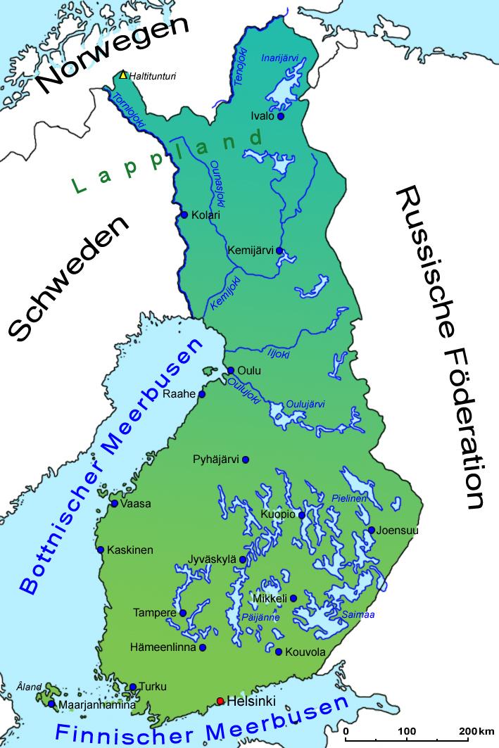 Finnland Geografie Landkarte Lander Finnland Goruma