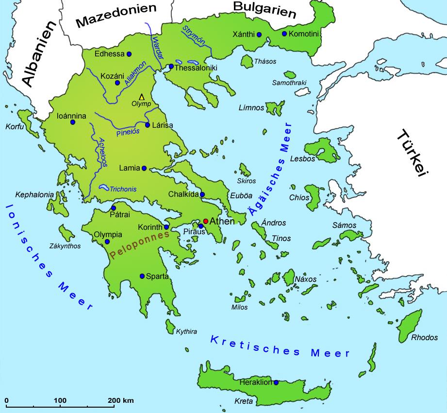 Griechenland Geografie Ubersichtskarte Lander Griechenland