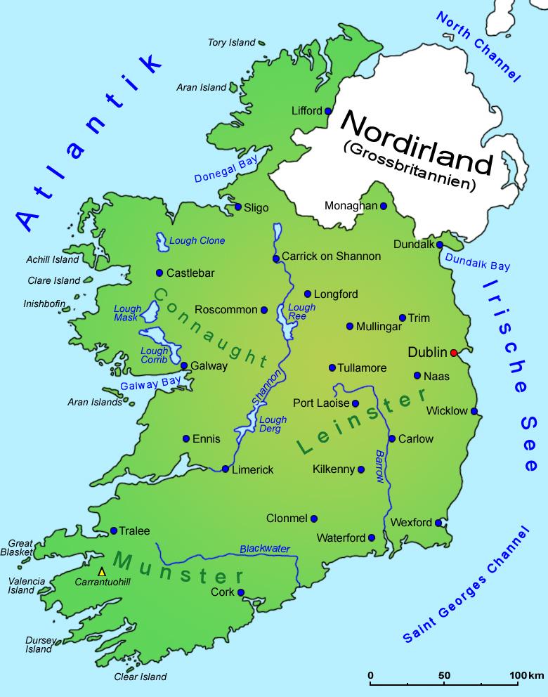 Irland Geografie Landkarte Lander Irland Goruma