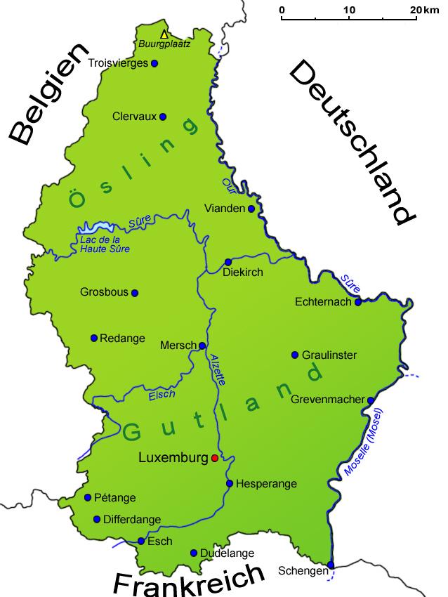 Seen In Norddeutschland Karte.Luxemburg Geografie Landkarte Lander Luxemburg Goruma