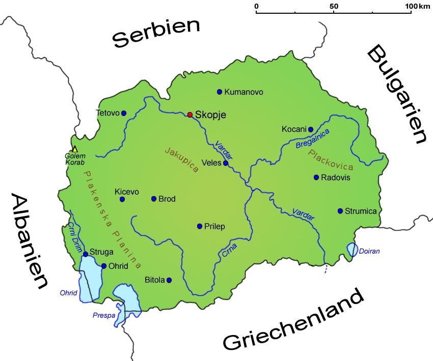 Mazedonien Landkarte Lander Mazedonien Goruma