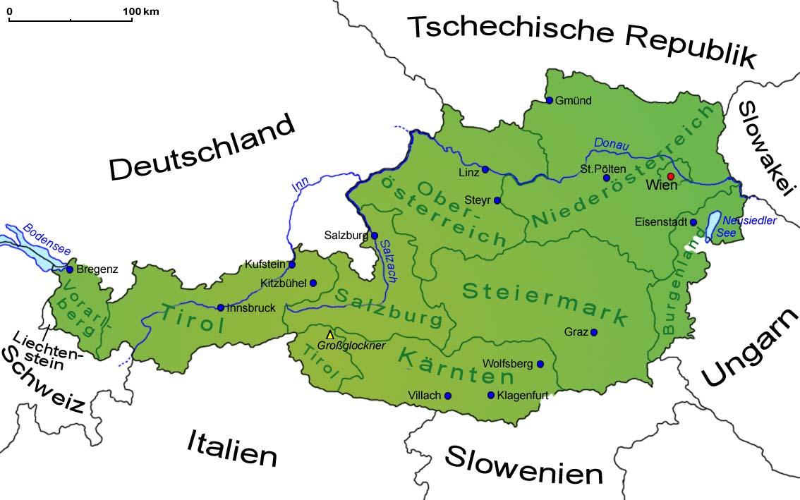Osterreich Landkarte Lander Osterreich Goruma