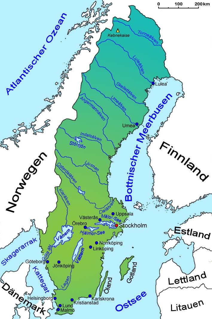 Karte Norwegen Schweden.Schweden Geografie Landkarte Lander Schweden Goruma