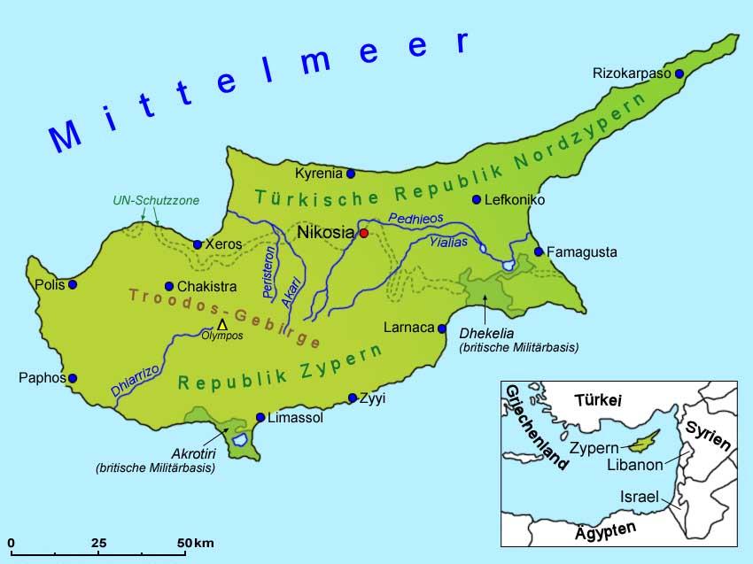 Zypern Geografie Und Ubersichtskarte Lander Zypern Goruma