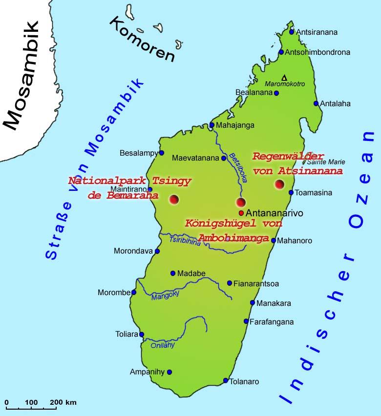 madagaskar karte Madagaskar: Sehenswürdigkeiten   Länder   Madagaskar   Goruma