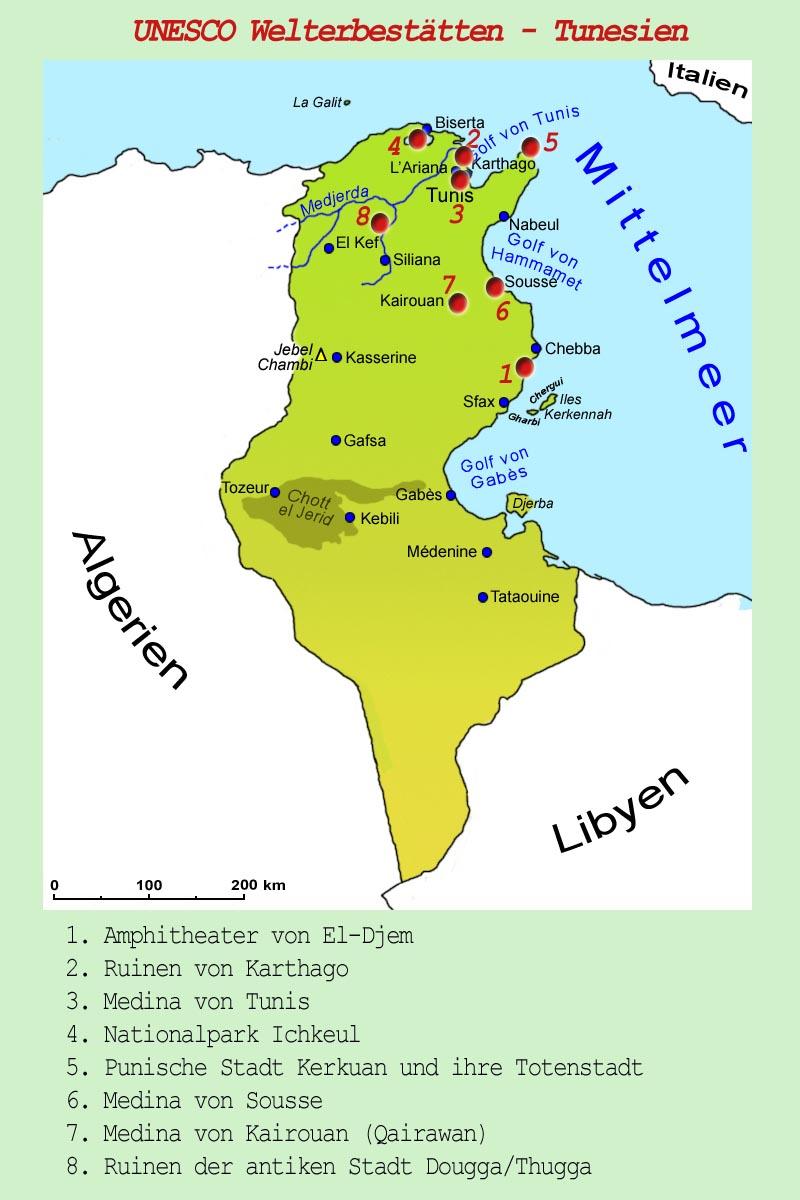 Tunesien Karte.Tunesien Sehenswurdigkeiten Lander Tunesien Goruma