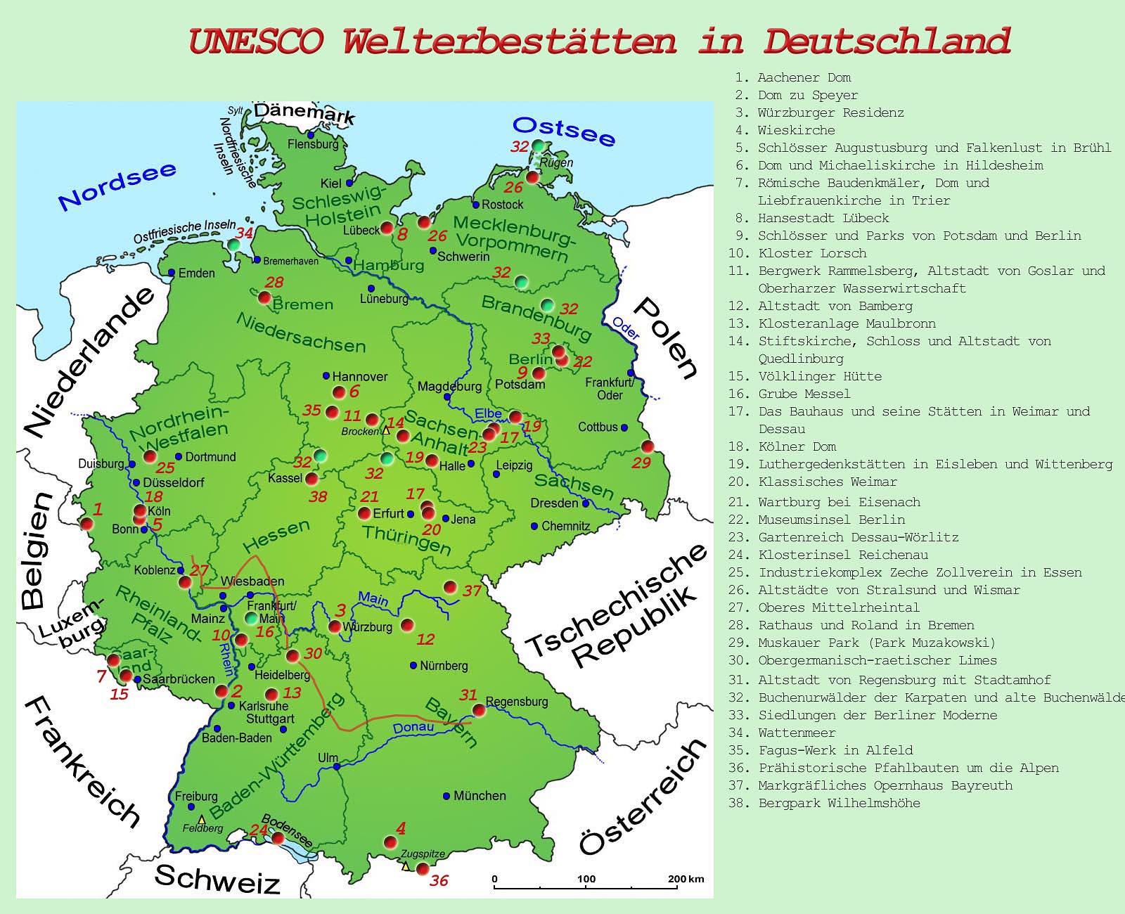 Deutschlandkarte Screenshot Unesco Welterbe