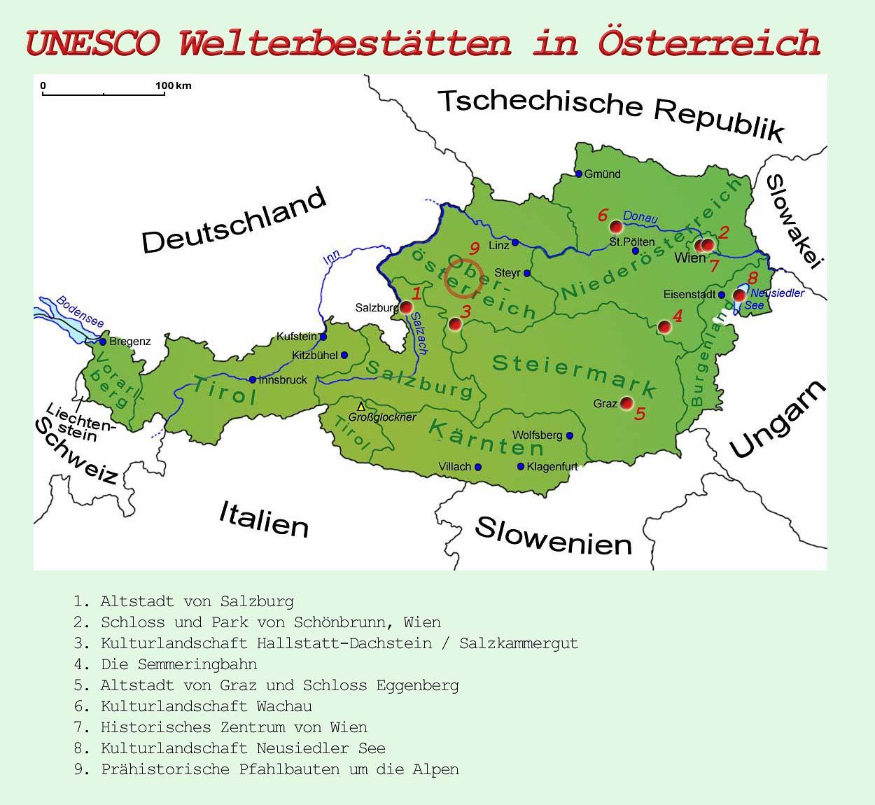 Wachau Karte.österreich Unesco Welterbestätten Länder Sehenswürdigkeiten