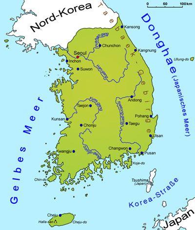 Sudkorea Geografie Landkarte Lander Sudkorea Goruma