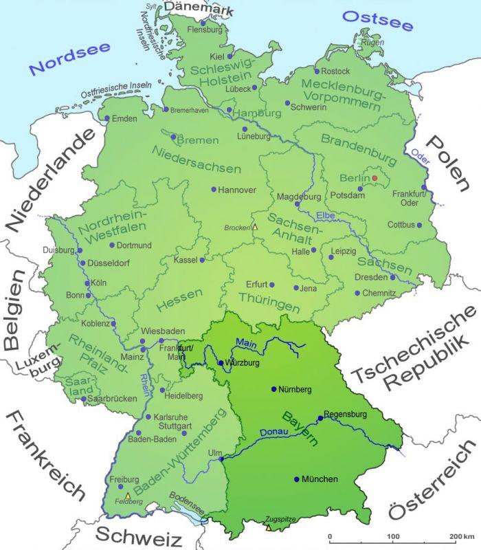 Landkarte Deutschland Bayern