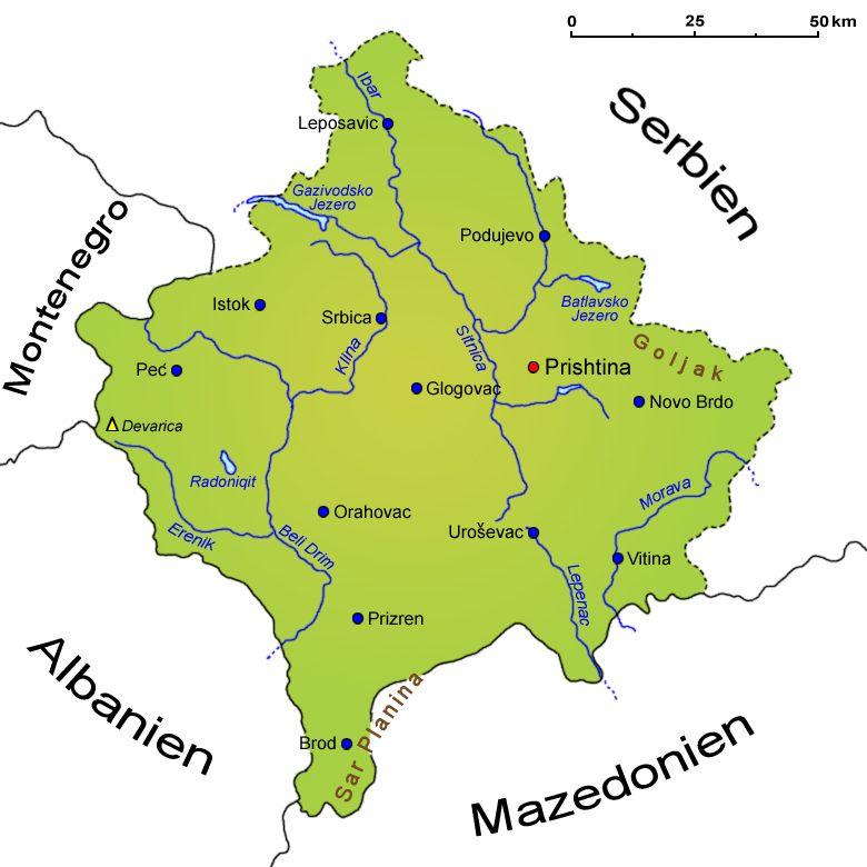 Kosovo Landkarte Lander Kosovo Goruma