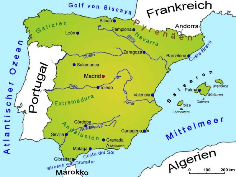 spanien landkarte l nder spanien goruma. Black Bedroom Furniture Sets. Home Design Ideas